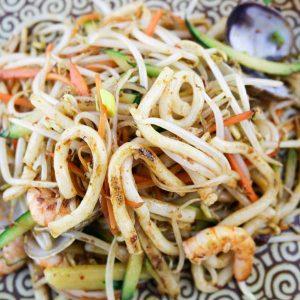 hisyou ristorante di sushi take away consegna a domicilio - primi spaghetti udon con misto mare